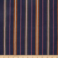Telio Verona Cotton Rayon Voile Multi Stripe Navy