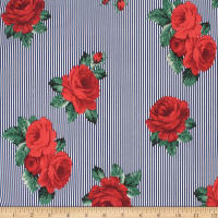 Telio Playtime Cotton Poplin Floral Stripe Navy Red