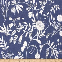 Telio Denim Cotton Print Floral Bird Blue
