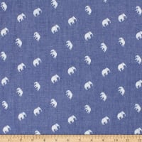Telio Denim Cotton Print Elephant Blue