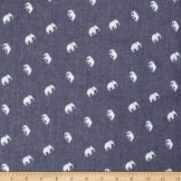 Telio Denim Cotton Print Elephant Dark Blue