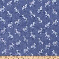 Telio Denim Cotton Print Zebra Blue