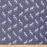 Telio Denim Cotton Print Zebra Dark Blue