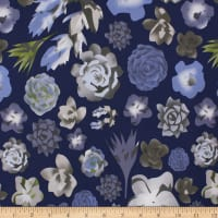 Telio Morocco Blues Stretch Cotton Poplin Floral Navy