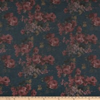 California Stretch French Terry Rose Garden Denim/Mauve