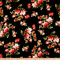 Rayon Spandex Jersey Knit Rose Garden Black/Coral