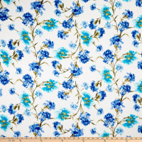 Rayon Spandex Jersey Knit Abstract Floral Ivory/Blue