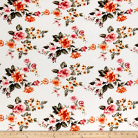 Rayon Spandex Jersey Knit Floral Garden Ivory/Coral