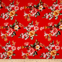 Rayon Spandex Jersey Knit Floral Garden Red/Coral