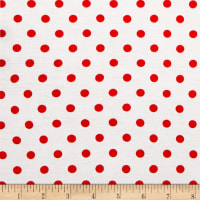 Rayon Spandex Jersey Knit Small Polka Dot Ivory/Red