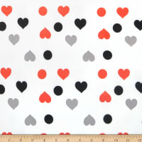 Double Brushed Poly Jersey Knit Dots and Hearts White