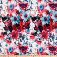 Double Brushed Poly Jersey Knit Watercolor Floral Red/Teal