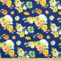 Double Brushed Poly Jersey Knit Floral Garden Navy/Coral