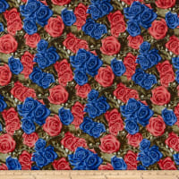 Double Brushed Poly Jersey Knit Rose Garden Red/Blue