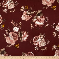 Double Brushed Poly Jersey Knit Floral Mocha/Burgundy