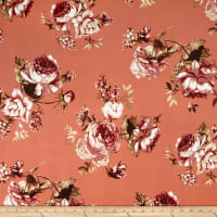 Double Brushed Poly Jersey Knit Floral Camel/Coral
