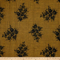Double Brushed Poly Jersey Knit Houndstooth Floral Black/Mustard