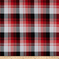 Double Brushed Poly Jersey Knit Plaid Black/Red