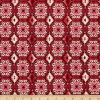 Double Brushed Poly Jersey Knit Medallion Wine