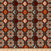 Double Brushed Poly Jersey Knit Medallion Rust
