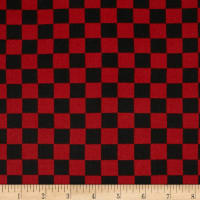 Double Brushed Poly Jersey Knit Plaid Checker Burgundy