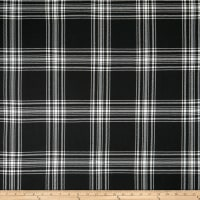 Double Brushed Poly Jersey Knit Plaid Black
