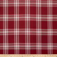 Double Brushed Poly Jersey Knit Plaid Burgundy