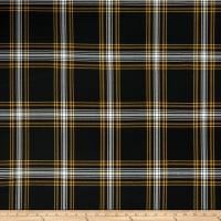 Double Brushed Poly Jersey Knit Plaid Black/Mustard
