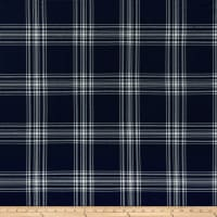 Double Brushed Poly Jersey Knit Plaid Navy
