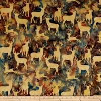 Island Batik Elk Lodge Deer Grouping Dusk