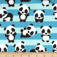 Michael Miller Minky Playful Panda Blue