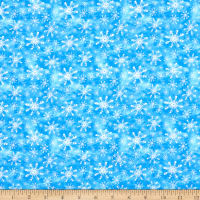 Precious Moments Snow Much Fun Christmas Snowflake Digital Print Blue