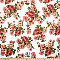 Liverpool Double Knit English Floral Ivory/Mauve