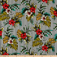Liverpool Double Knit Tropical Floral Hunter/Black