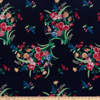 Rayon Challis Tropical Floral Bouquet Fuchsia/Navy