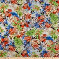 Rayon Challis Leaf Floral Green/Coral