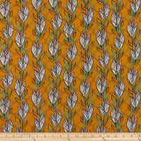 Rayon Challis Abstract Leaves Mustard