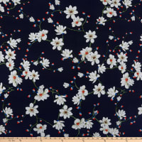 Rayon Challis Floral Ivory/Navy
