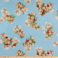 Rayon Challis Rose Bouquet Coral/Light Blue
