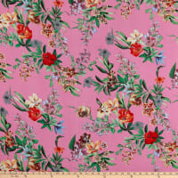 Rayon Challis Floral Garden Pink/Green