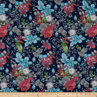 Rayon Challis Abstract Floral Navy/Mint