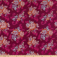 Rayon Challis Floral Bouquet Fuchsia/Coral