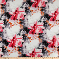 Rayon Challis Watercolor Floral Black/Hot Pink
