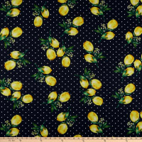 Rayon Challis Dots and Lemon Navy/Yellow