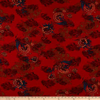Rayon Challis Abstract Floral Red/Olive