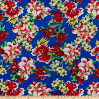 Rayon Challis Floral Garden Royal/Red