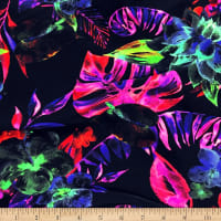 Pine Crest Fabrics Infrared Tropics Stretch Tricot Black/Pink/ Red
