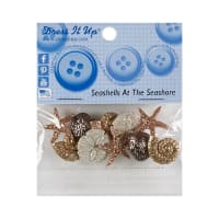 Dress It Up Embellishment Buttons 8pc - Seashells At Seashore