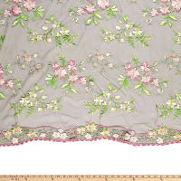 Ashley Multi Floral Embroidery Mesh Green Pink
