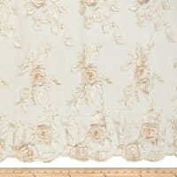 3D Flower and Petals Micro Mesh Champagne